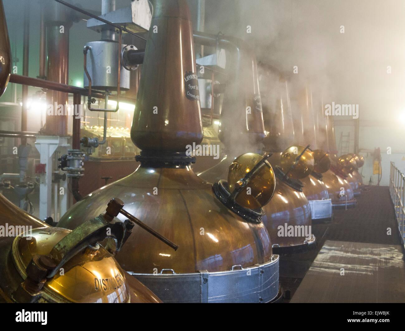 laphroaig distillery stills copper inside distillation process - Stock Image