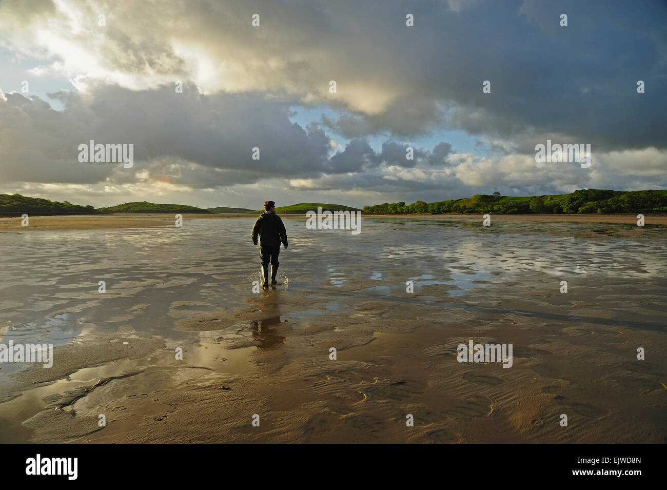 Ireland, County Mayo, Clew Bay, Rear view of man standing water in rubber boots, clouds in sky - Stock Image