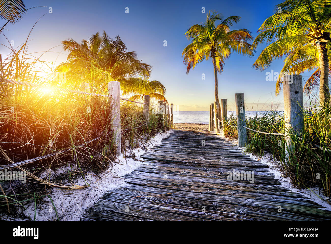 way to the beach in Key West, Miami, Floride, USA - Stock Image