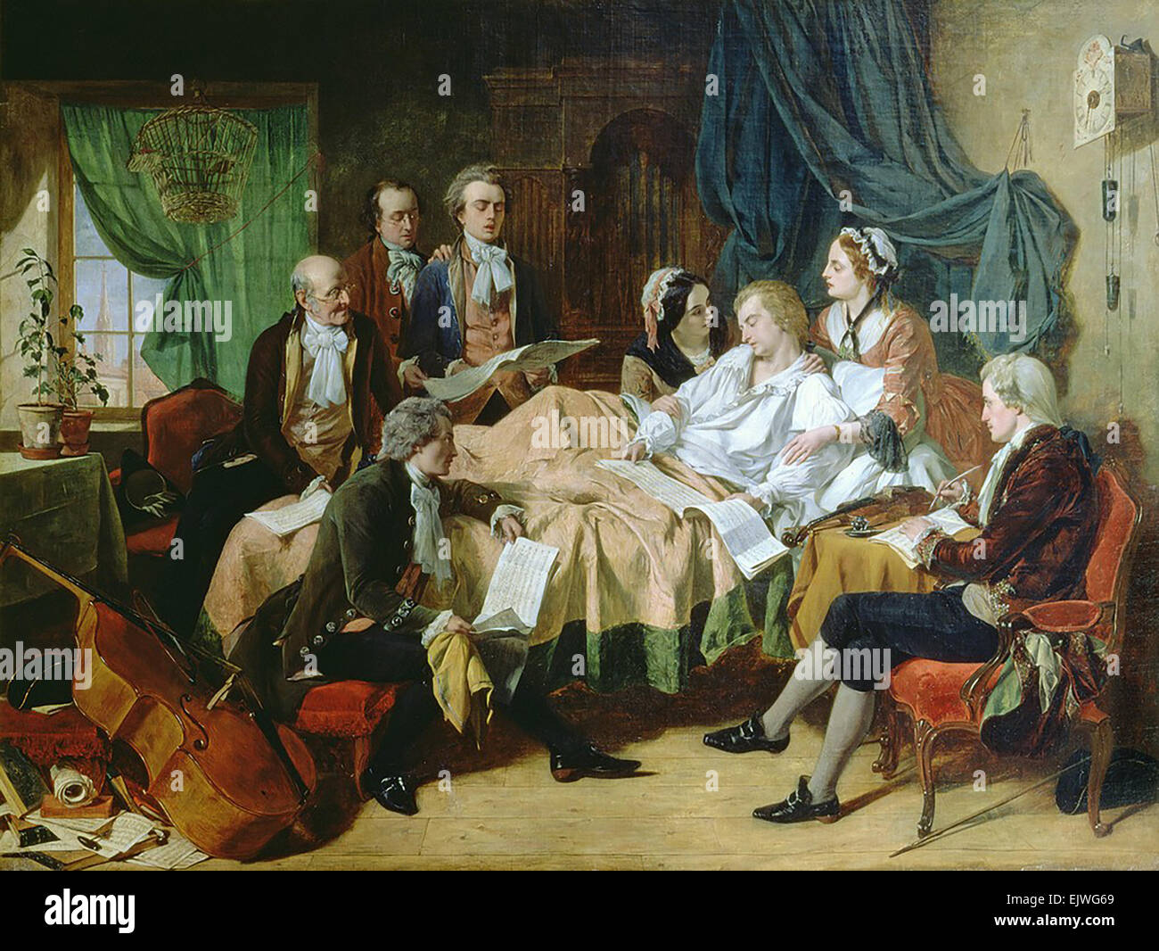 THE DEATH OF MOZART painting by Irish artist Henry O'Neill about 1870 - Stock Image