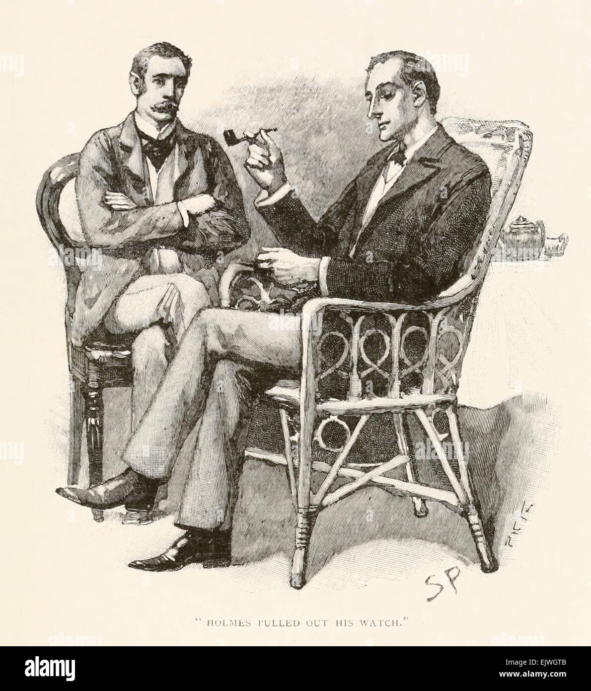 Holmes pulled out his watch - from 'The Greek Interpreter' by Arthur Conan Doyle (1859-1930). Illustration - Stock Image