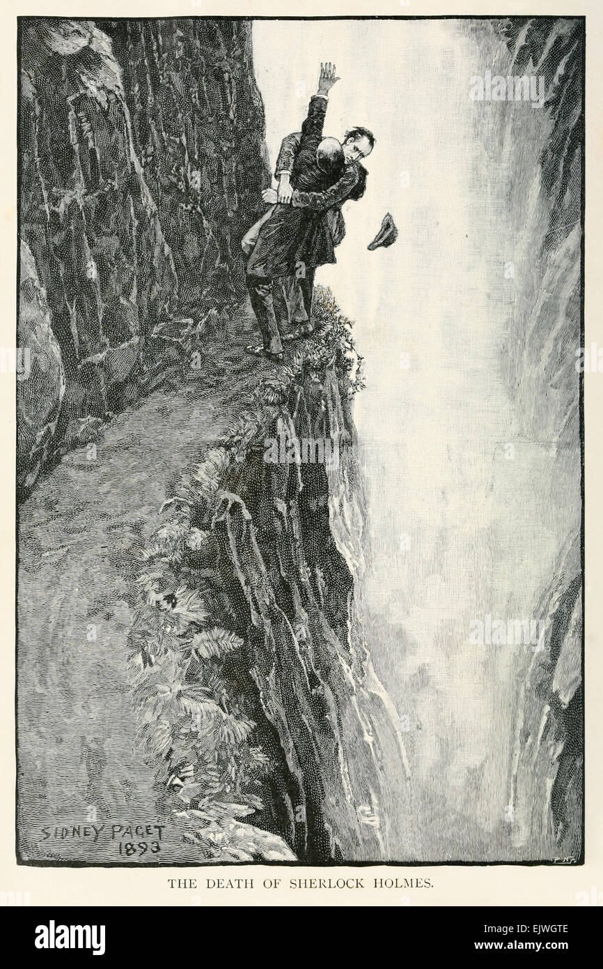 The Death of Sherlock Holmes - Holmes struggles with Moriarty at the Reichenbach Falls from 'The Final Problem' - Stock Image
