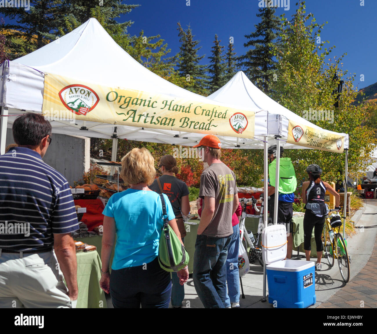 Vail Farmers' Market and Art Show in Colorado in autumn - Stock Image