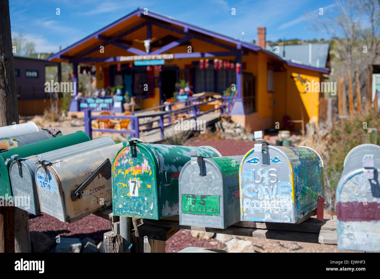 USA New Mexico NM Madrid on the Turquoise Trail mailboxes along an old coal mining town now an art community Stock Photo