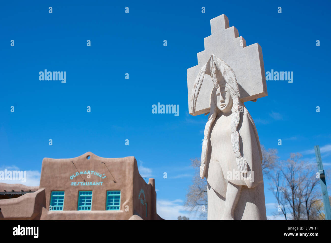 Taos plaza stock photos taos plaza stock images alamy usa new mexico nm rancho de taos american indian sulpture in the plaza across from old publicscrutiny Images