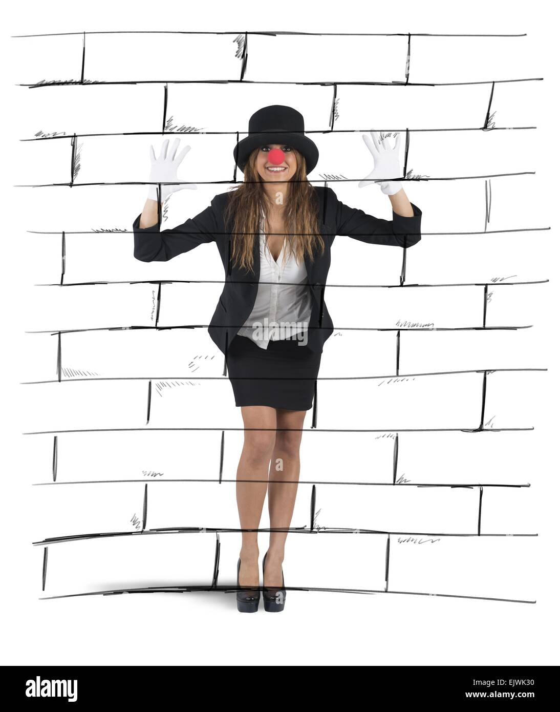 Mime imagining a wall - Stock Image