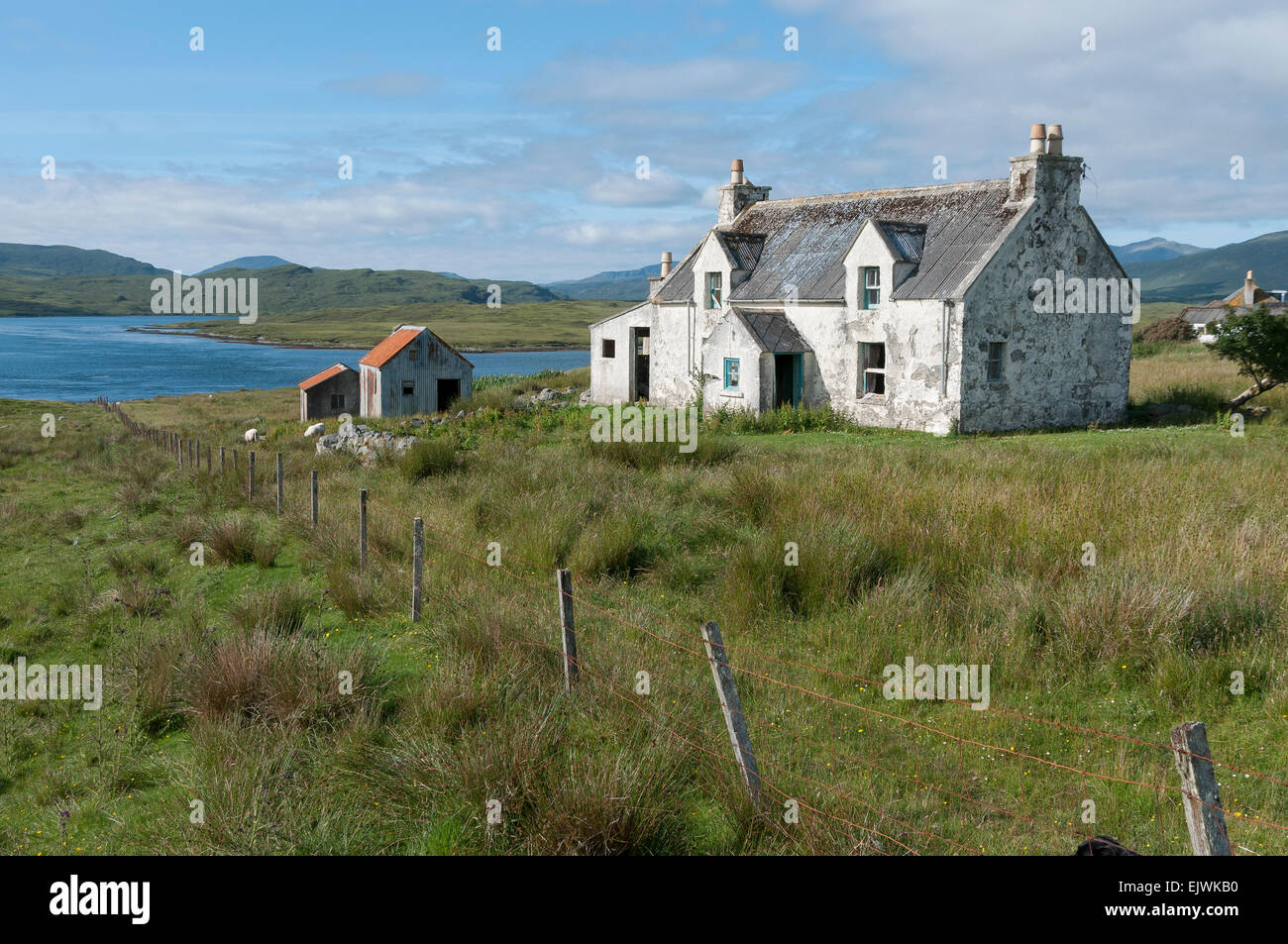 ruined derelict  vernacular cottage on isle of  lewis - Stock Image