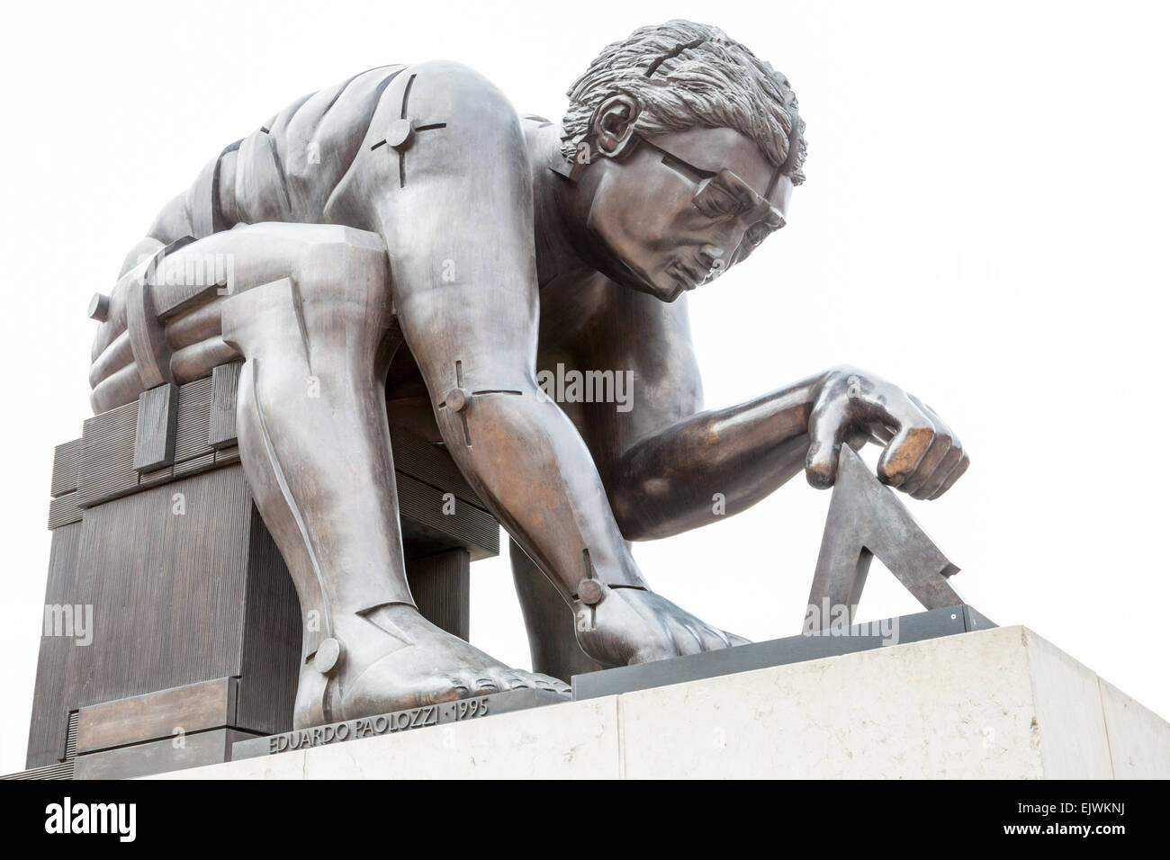 The statue of Sir Isaac Newton by sculptor Eduardo Paolozzi on the British Library piazza, London, England, UK - Stock Image