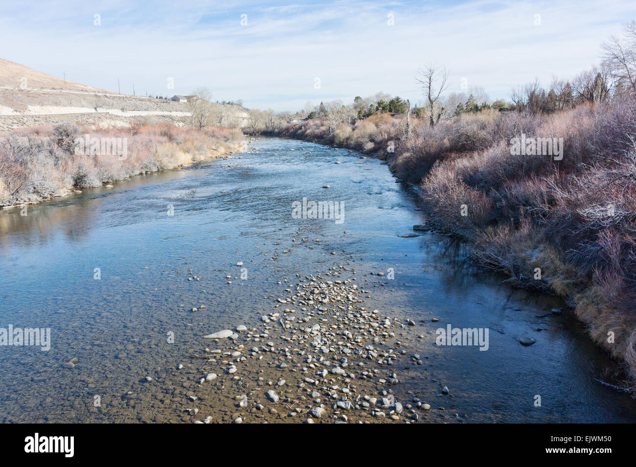 The Truckee River in winter, Reno, Nevada - Stock Image