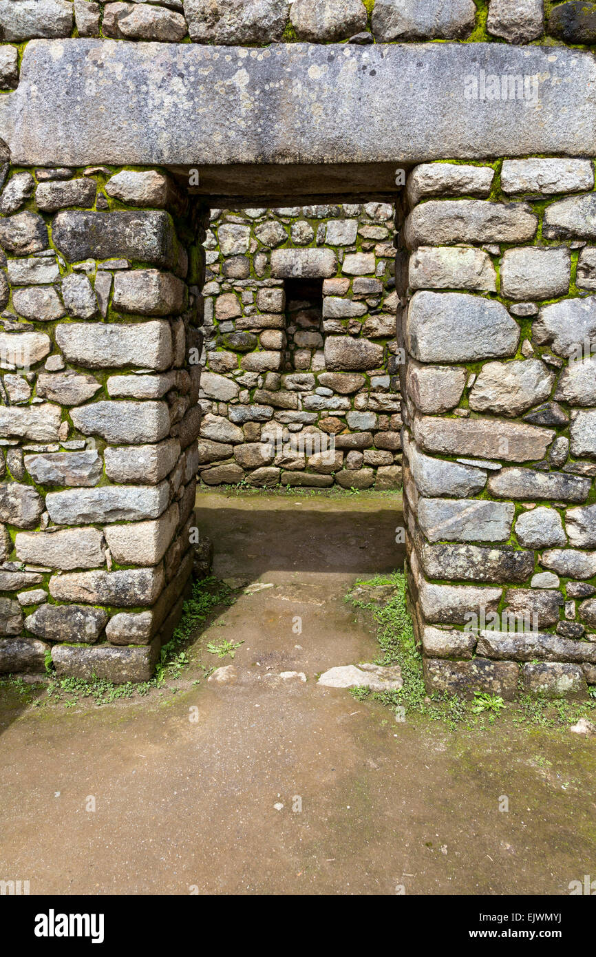 Peru, Machu Picchu.  Trapezoidal Doorway House Entrance. - Stock Image