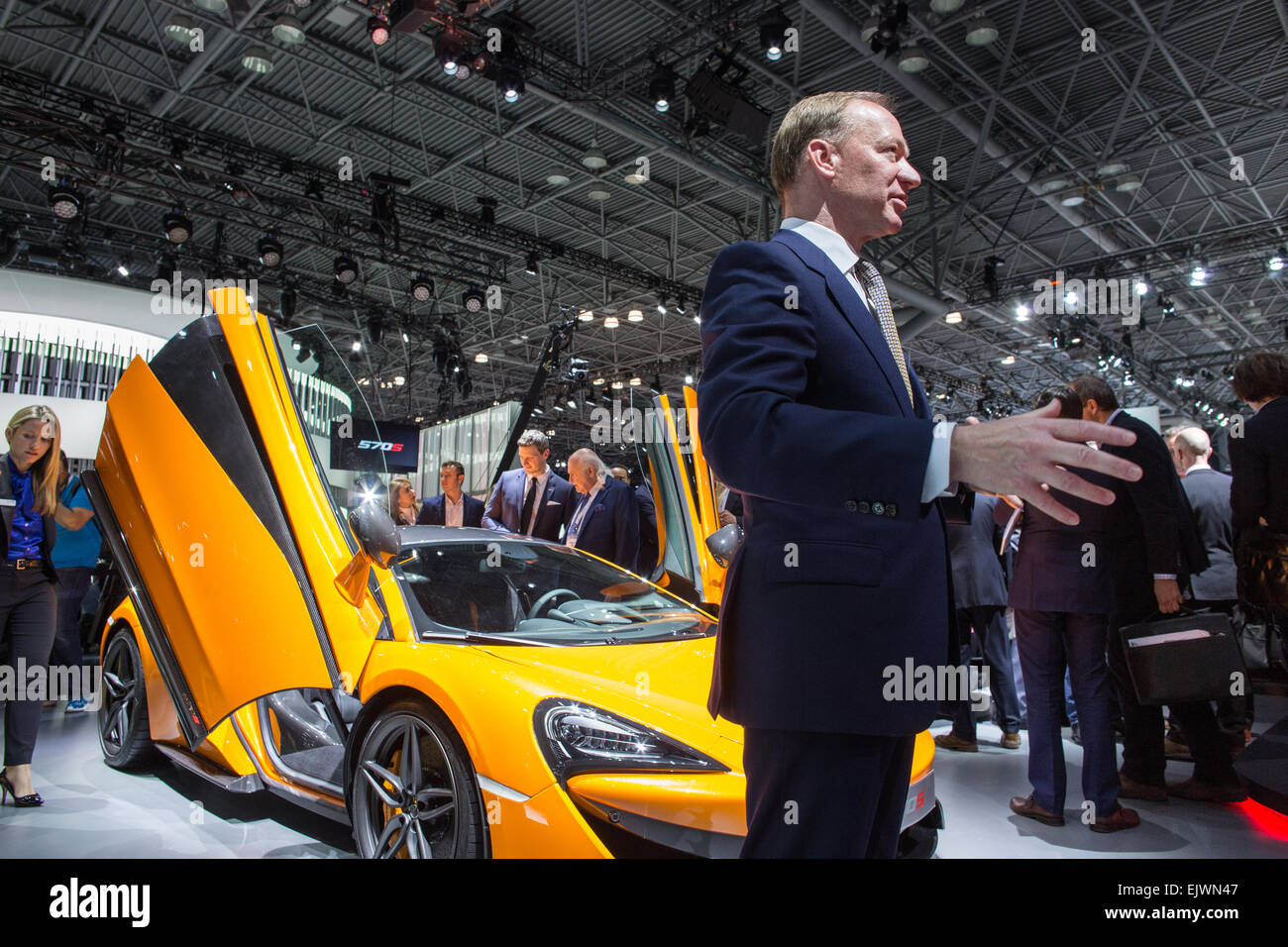 New York, NY - 1 April 2015. British carmaker McLaren's CEO Mike Flewitt talks to reporters about its entry - Stock Image