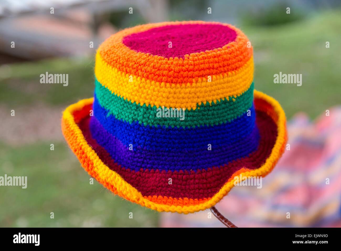 Peru, Urubamba Valley.  Peruvian Hat, Traditional Incan Rainbow Colors. - Stock Image