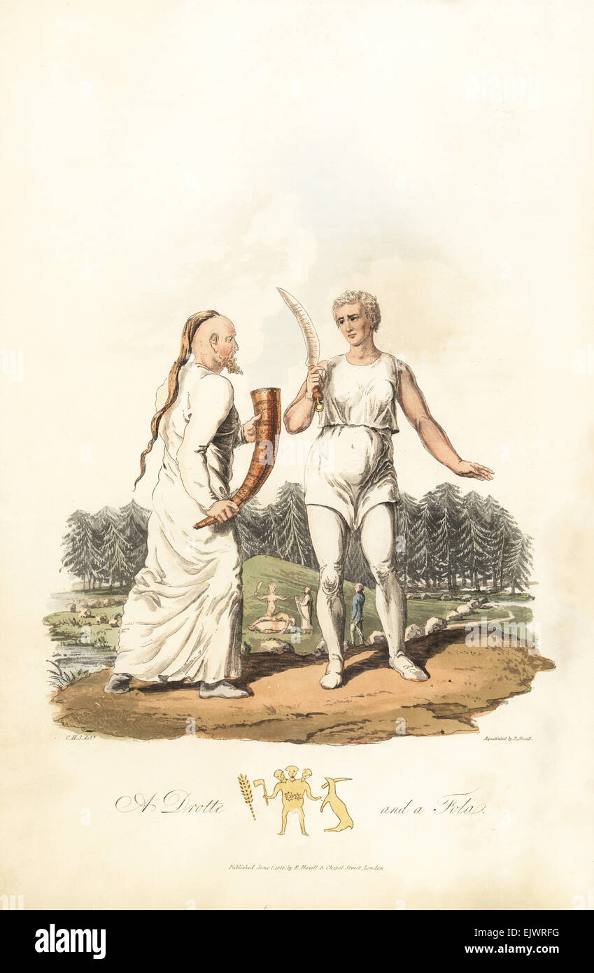 A Drotte and a Fola, priest and priestess of the Gothic Scandinavians. Stock Photo
