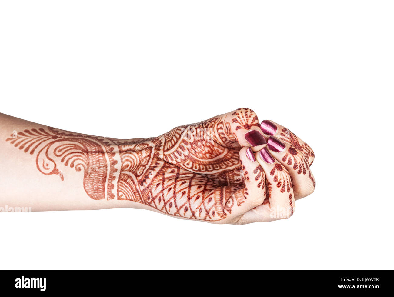 Woman hand with henna doing mukula beak mudra isolated on white background with clipping path - Stock Image