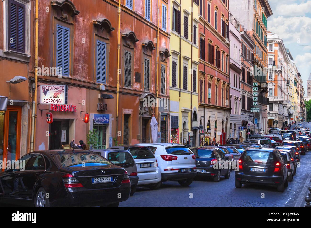 ROME, ITALY - MAY 04, 2014: Cars on the street Via Quattro Fontane in Rome, Italy Stock Photo