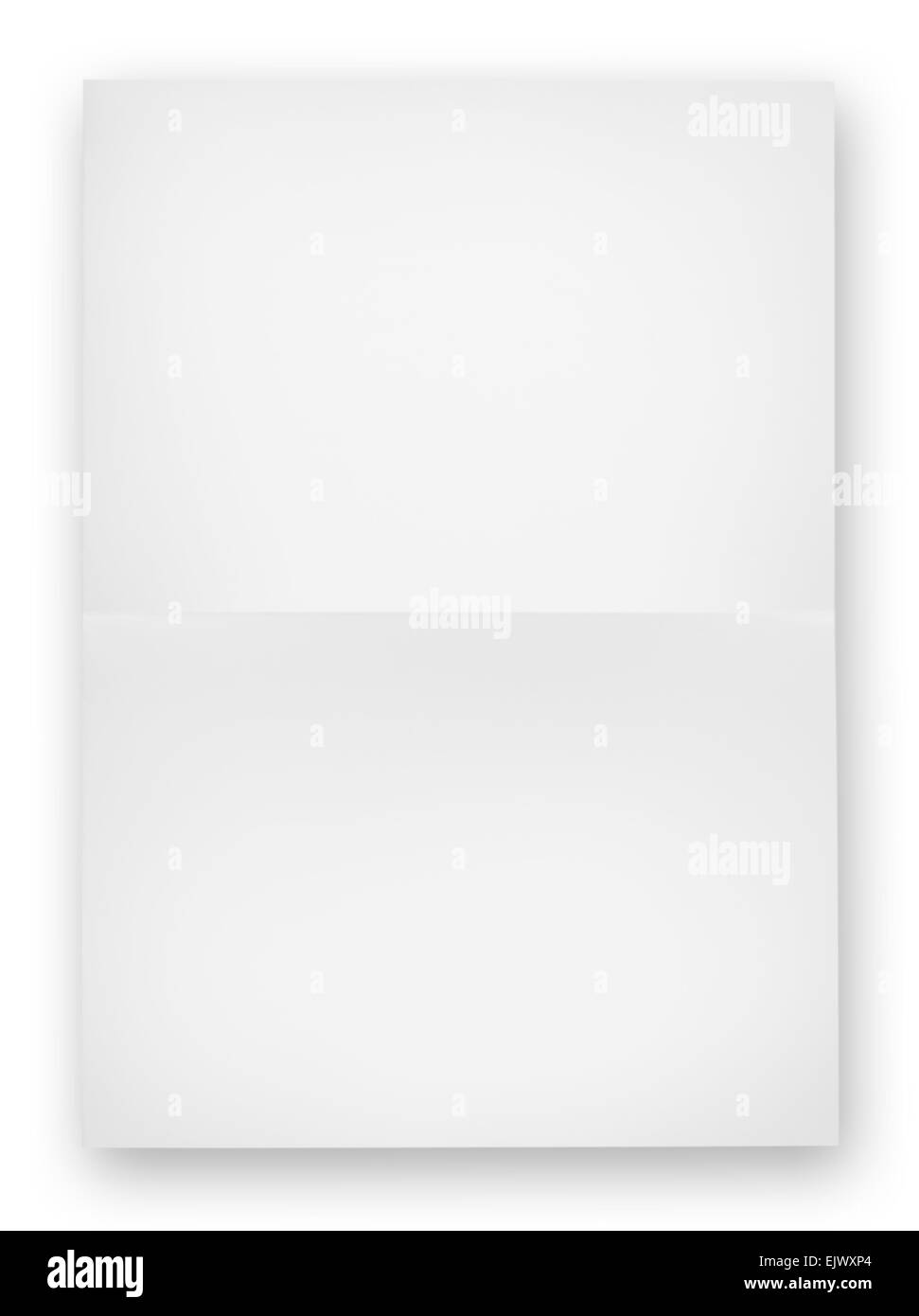 White sheet of paper folded in half isolated on white background - Stock Image