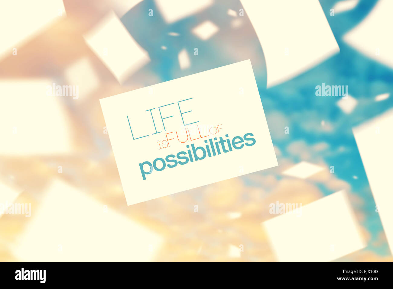 Life is Full of Possibilities Inspirational Quote on Vintage Paper Floating on The Wind in The Air, Retro Instagram - Stock Image