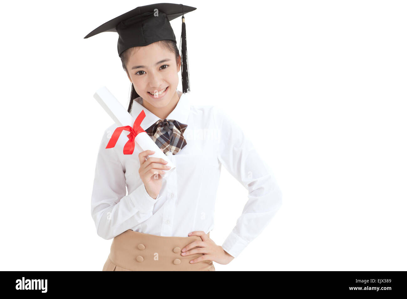 High school students wear a cap with a diploma of Bachelor - Stock Image