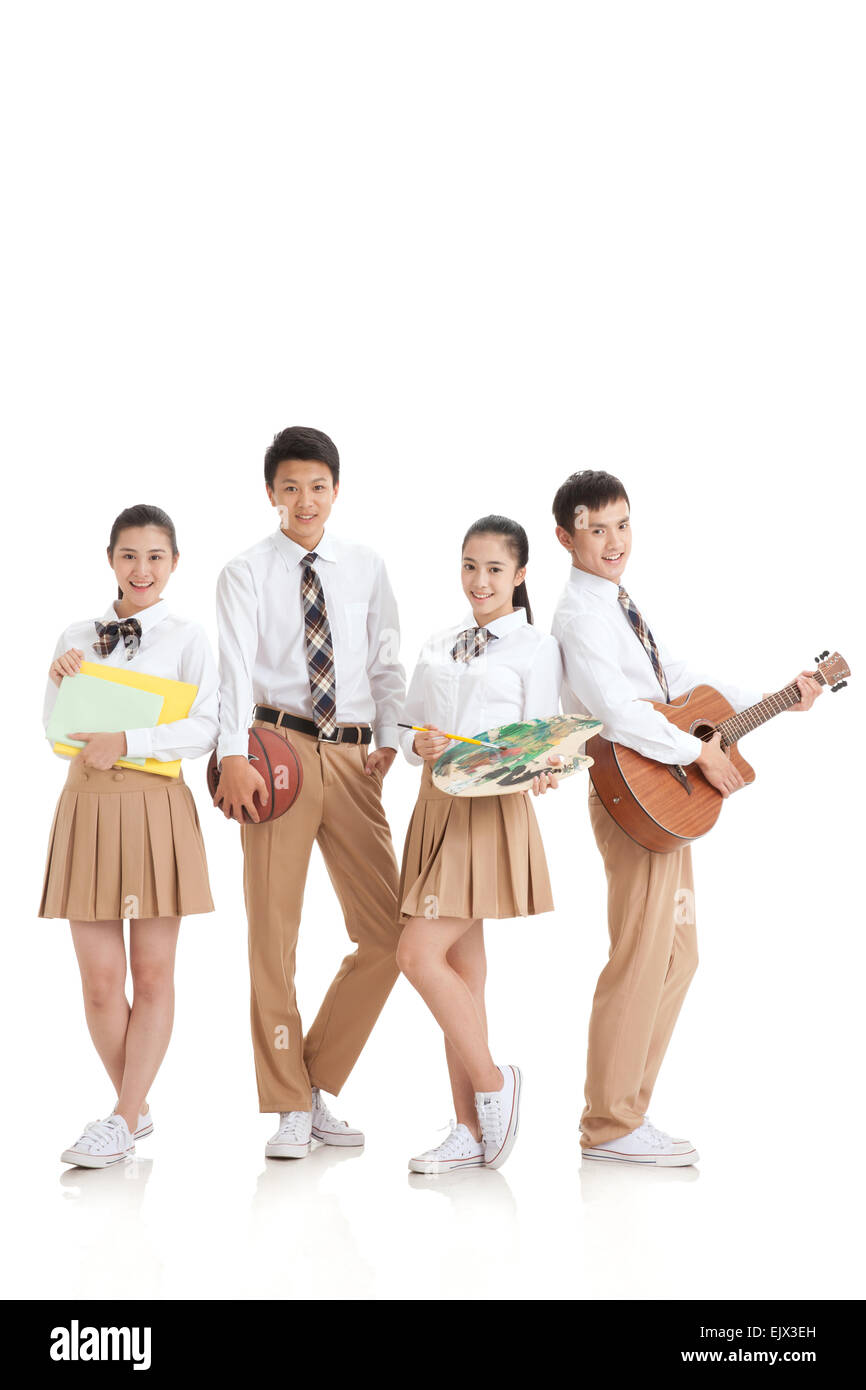 Four modelling of cool high school students - Stock Image