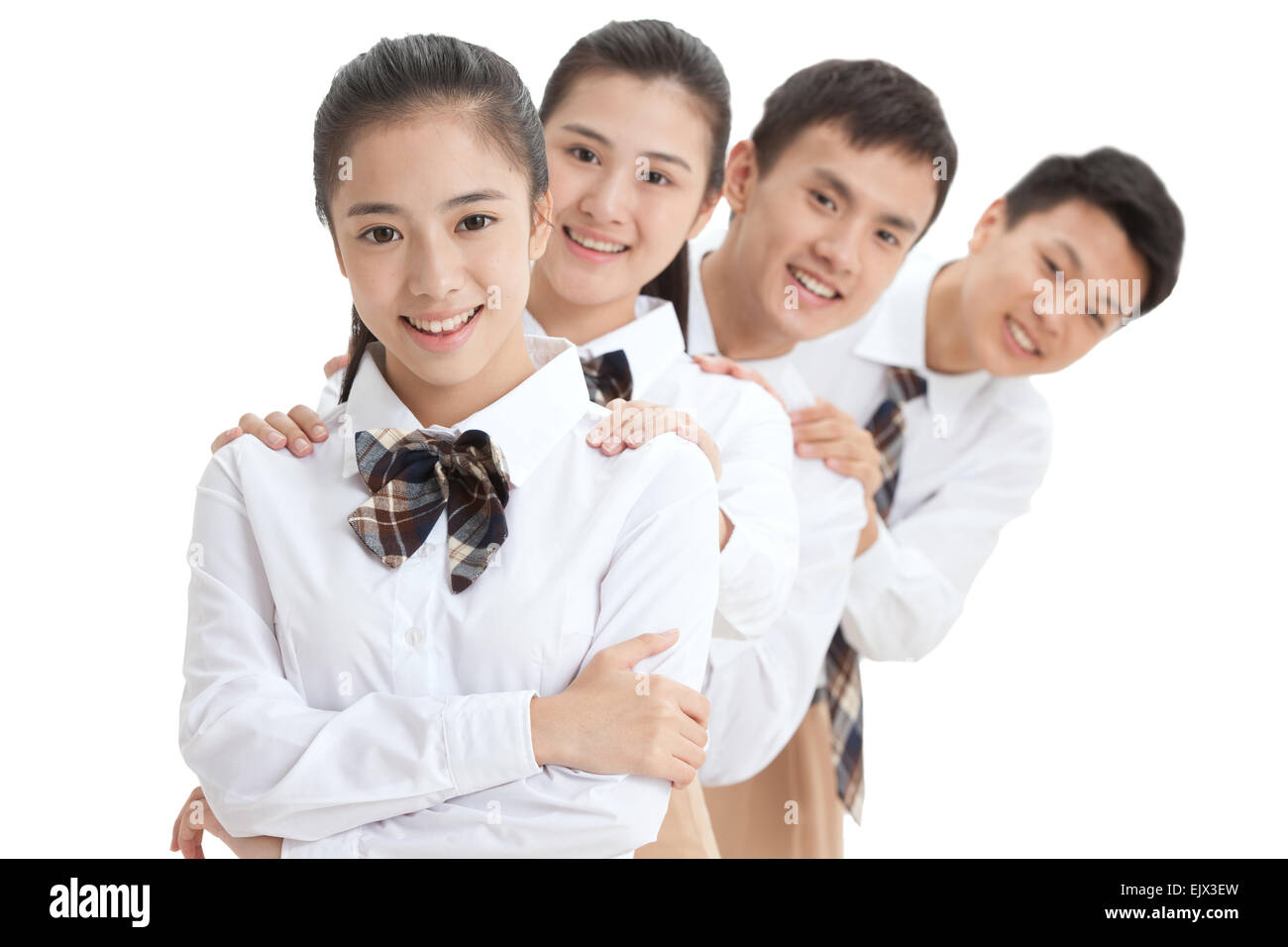 A row of high school students watched the lens - Stock Image