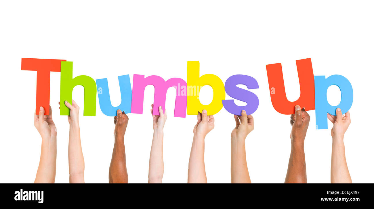 Diverse Hands Holding the Word Thumbs Up - Stock Image