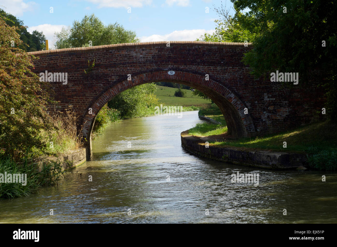Canal bridge in the United Kingdom on a sunny day, in summer, in the English countryside. - Stock Image
