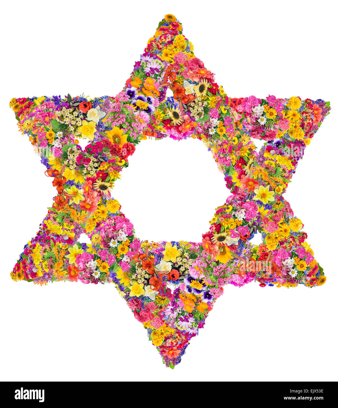 The symbol of Judaism - David star. Sign is made from bright  summer flowers. Isolated abstract handmade collahe - Stock Image