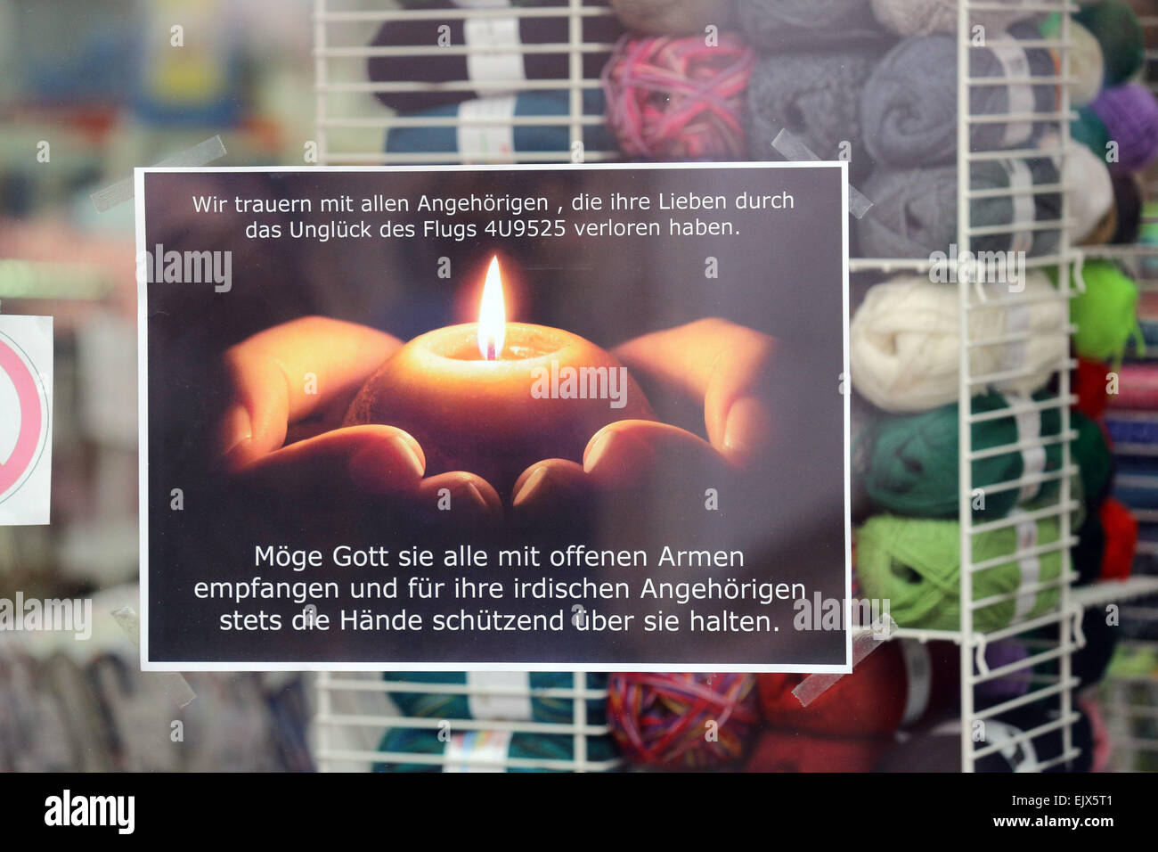 HALTERN, GERMANY - window where a notice pays tribute to 16 students and two teachers from a local school who were - Stock Image