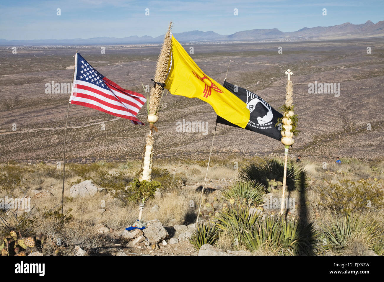 A Us Flag A New Mexico Flag An Mia Flag And A Traditional Staff Stock Photo Alamy