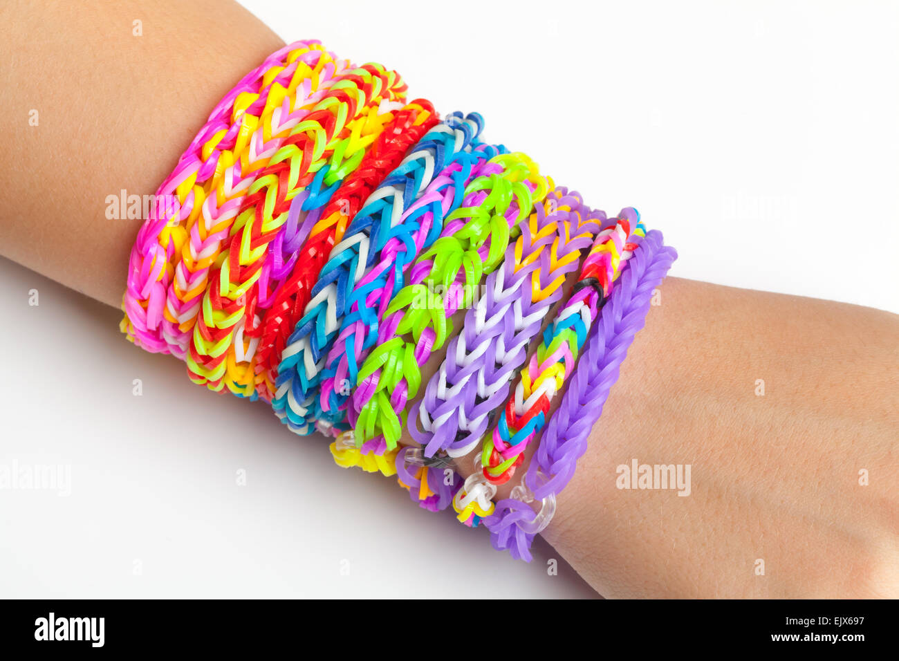Colorful Rubber Rainbow Loom Band Bracelets On Hand Trendy Kids