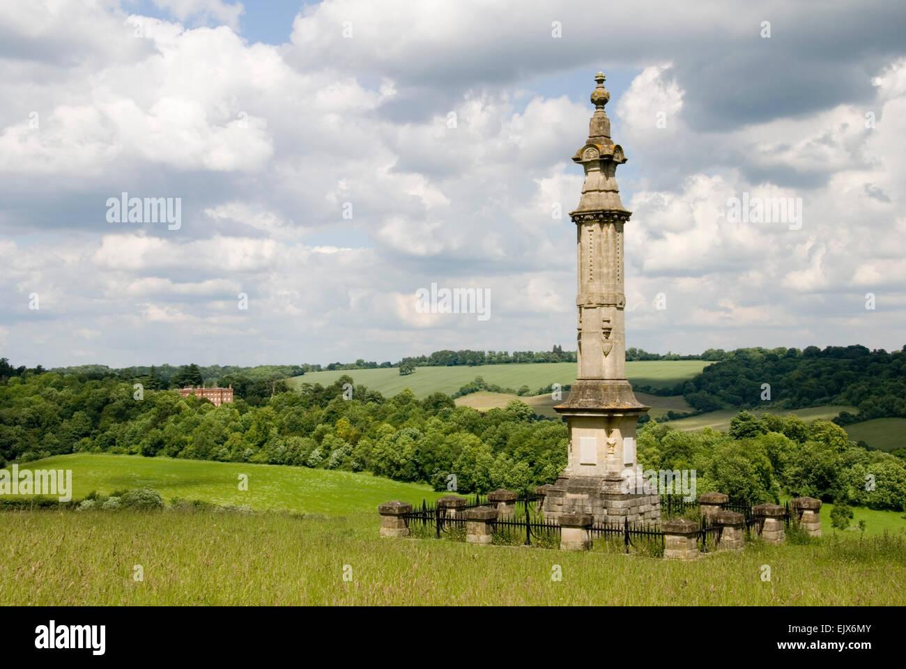 Bucks - Chilterns - Hughenden - hill top monument to Isaac D'Israeli - Benjamin Disraeli's father - Hughenden manor Stock Photo