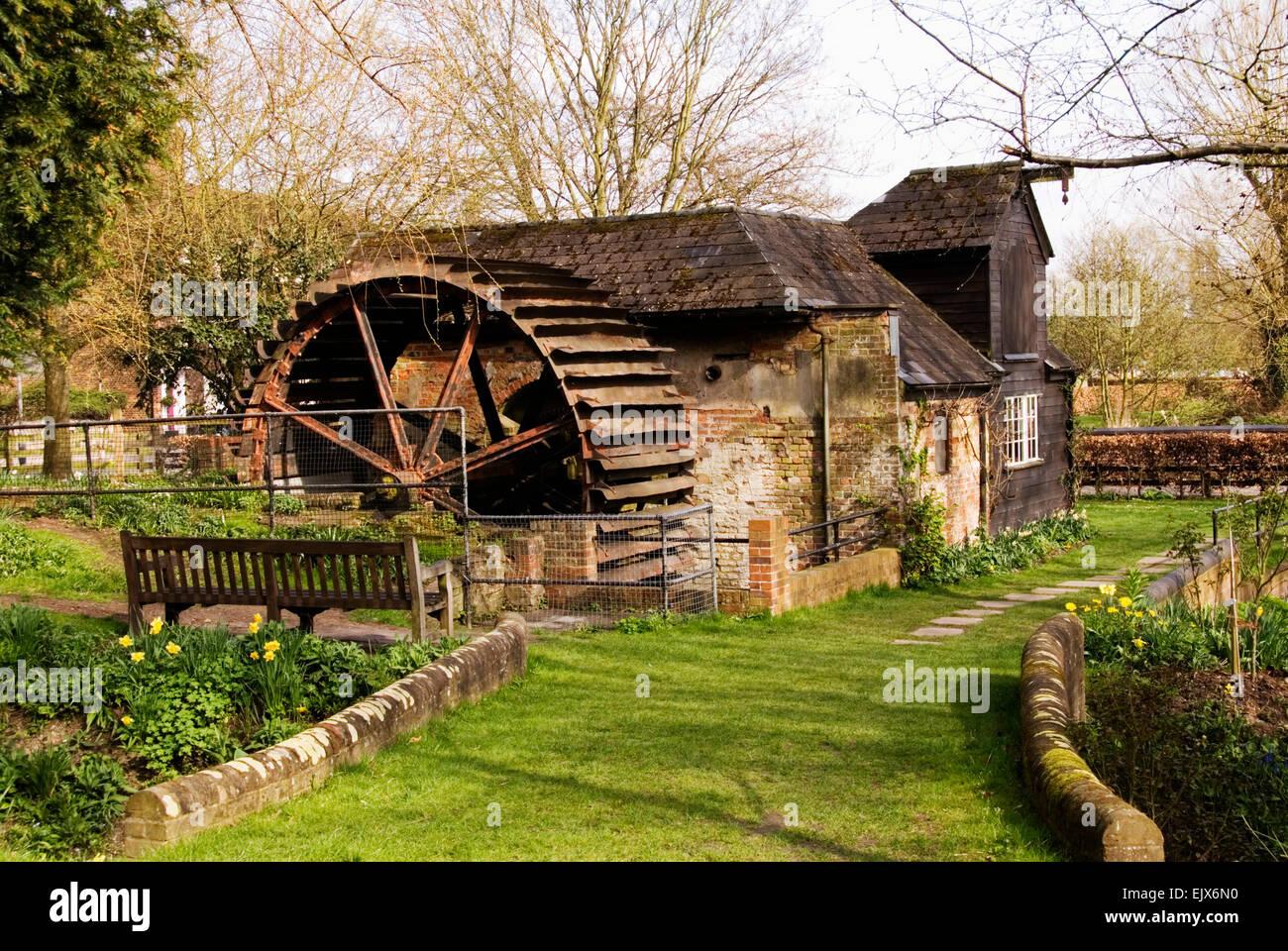 Bucks - High Wycombe - Pann Mill (restored)  Misbourne chalk stream - overshot water wheel - old mellow brickwork - Stock Image