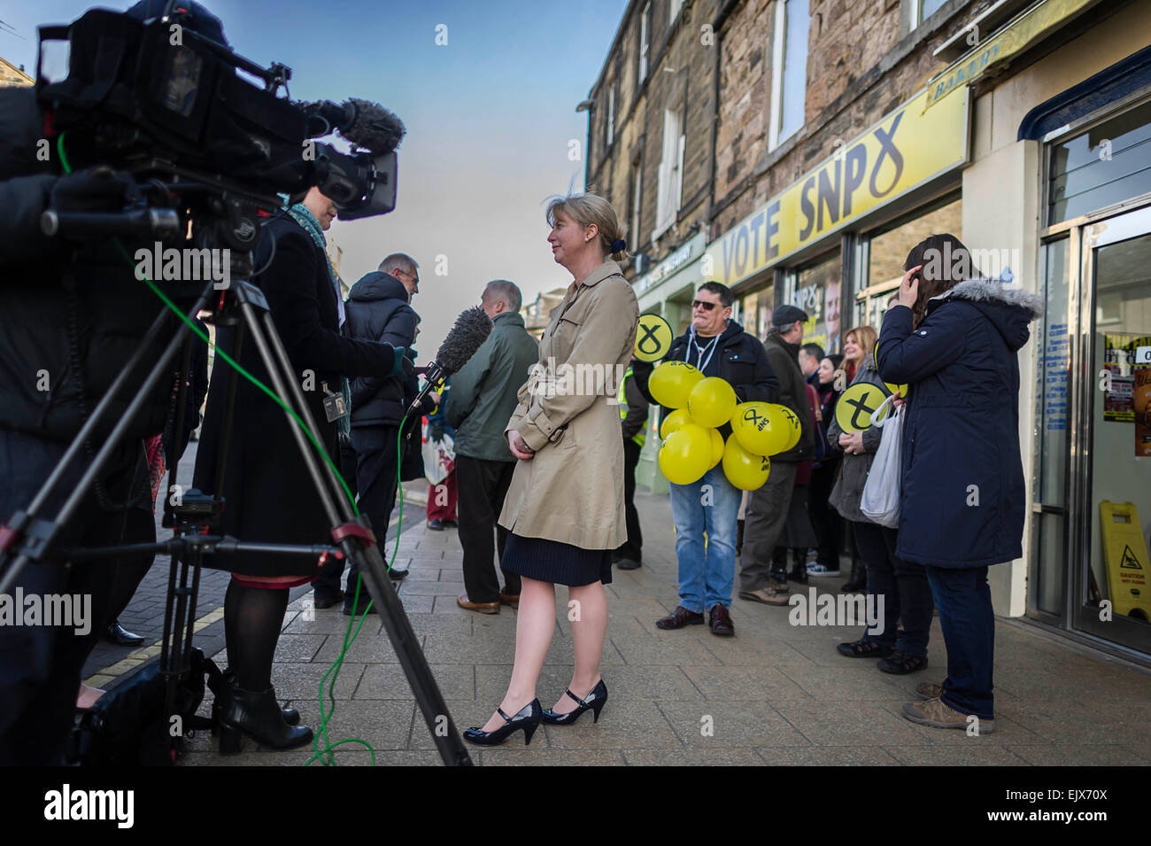 Edinburgh UK Apr 02 2015; Ahead of the seven-way leaders' debate tonight, Scotland's Health Secretary Shona - Stock Image
