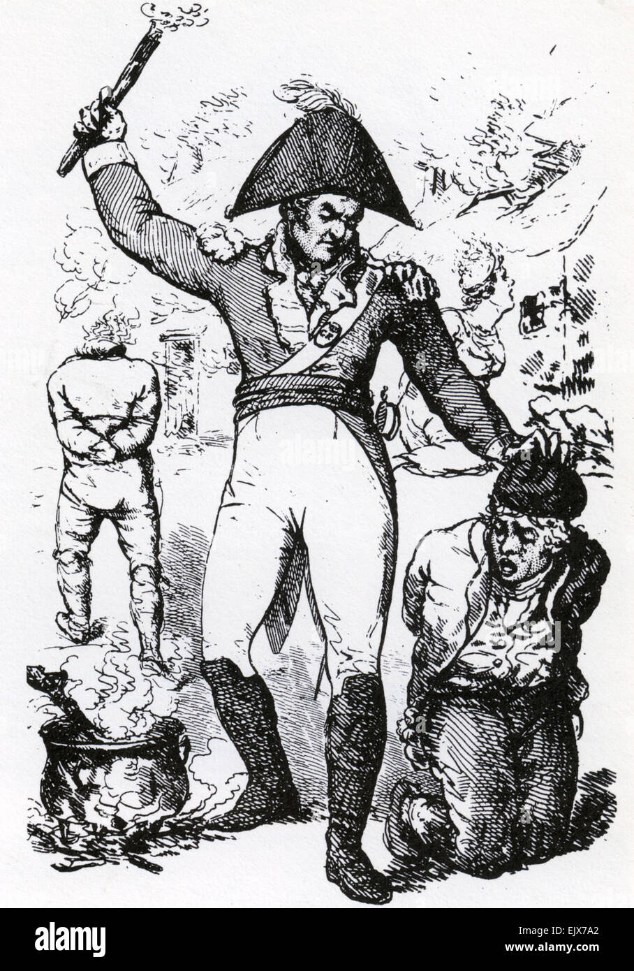 PITCHCAPPING A form of torture used by the British military on Irish rebels during the 1798 rebellion. From Walter - Stock Image