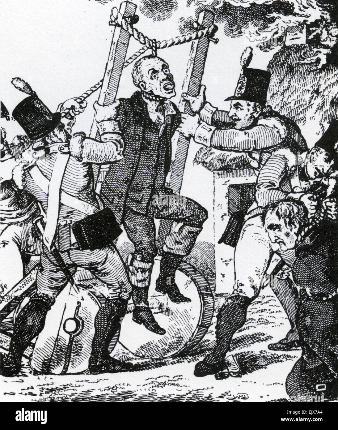 1798 IRISH REBELLION  Portable gallows according to Walter Cox's Irish Monthly Magazine in 1810. Possibly fictional. - Stock Image