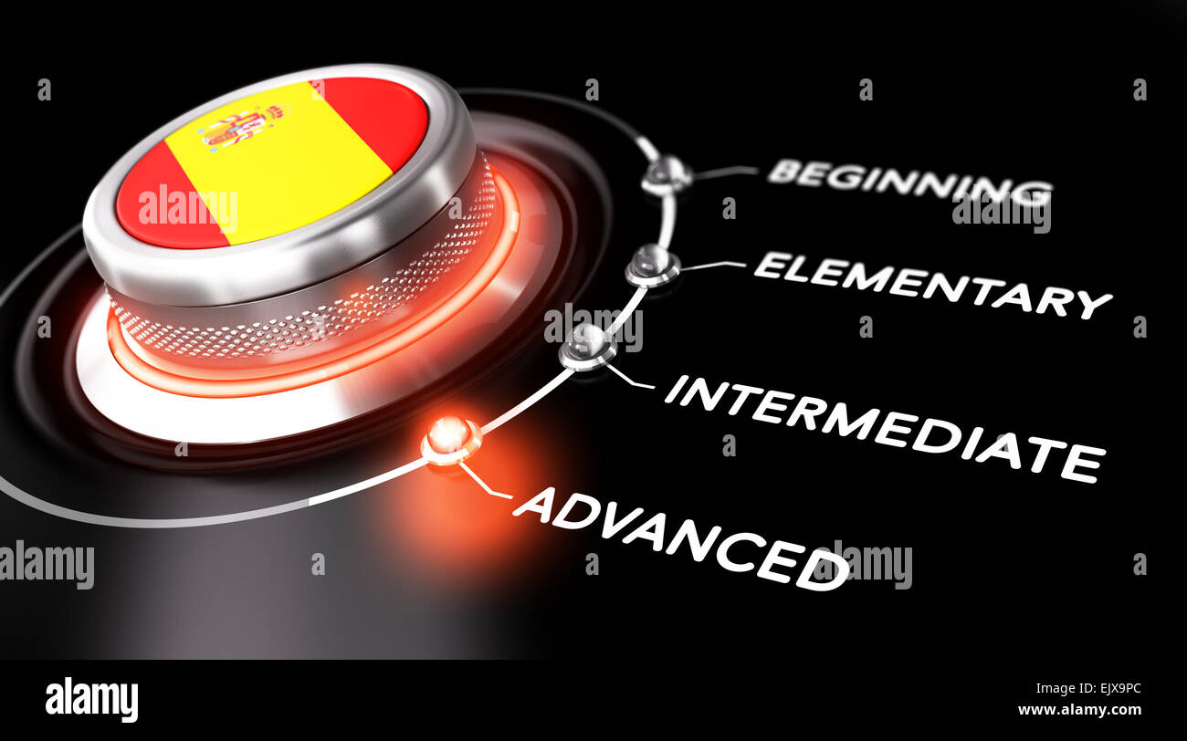 Modern switch pointing the word advanced. Black backgorund. Concept of spanish courses or language skill level - Stock Image