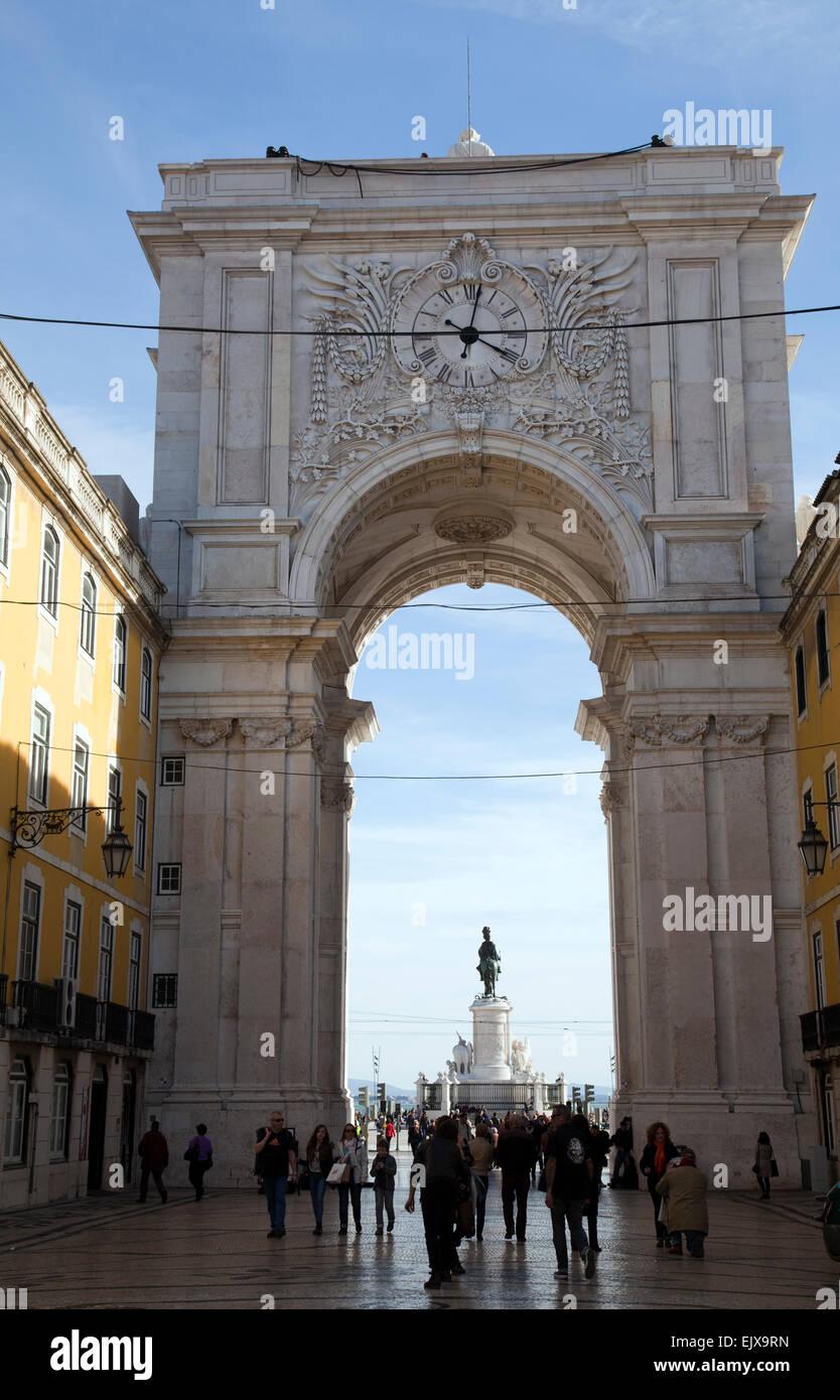 Rua Augusta Arch in Lisbon - Portugal - Stock Image