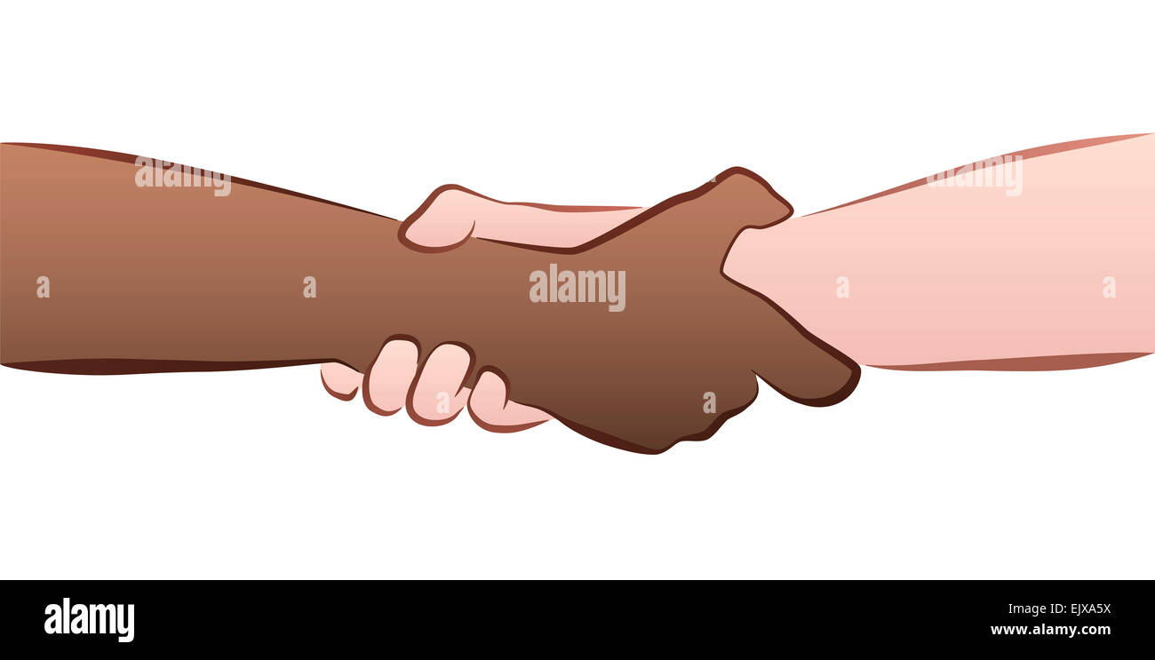 Interracial helping, rescuing, firm handshake grip. Illustration on white background. - Stock Image