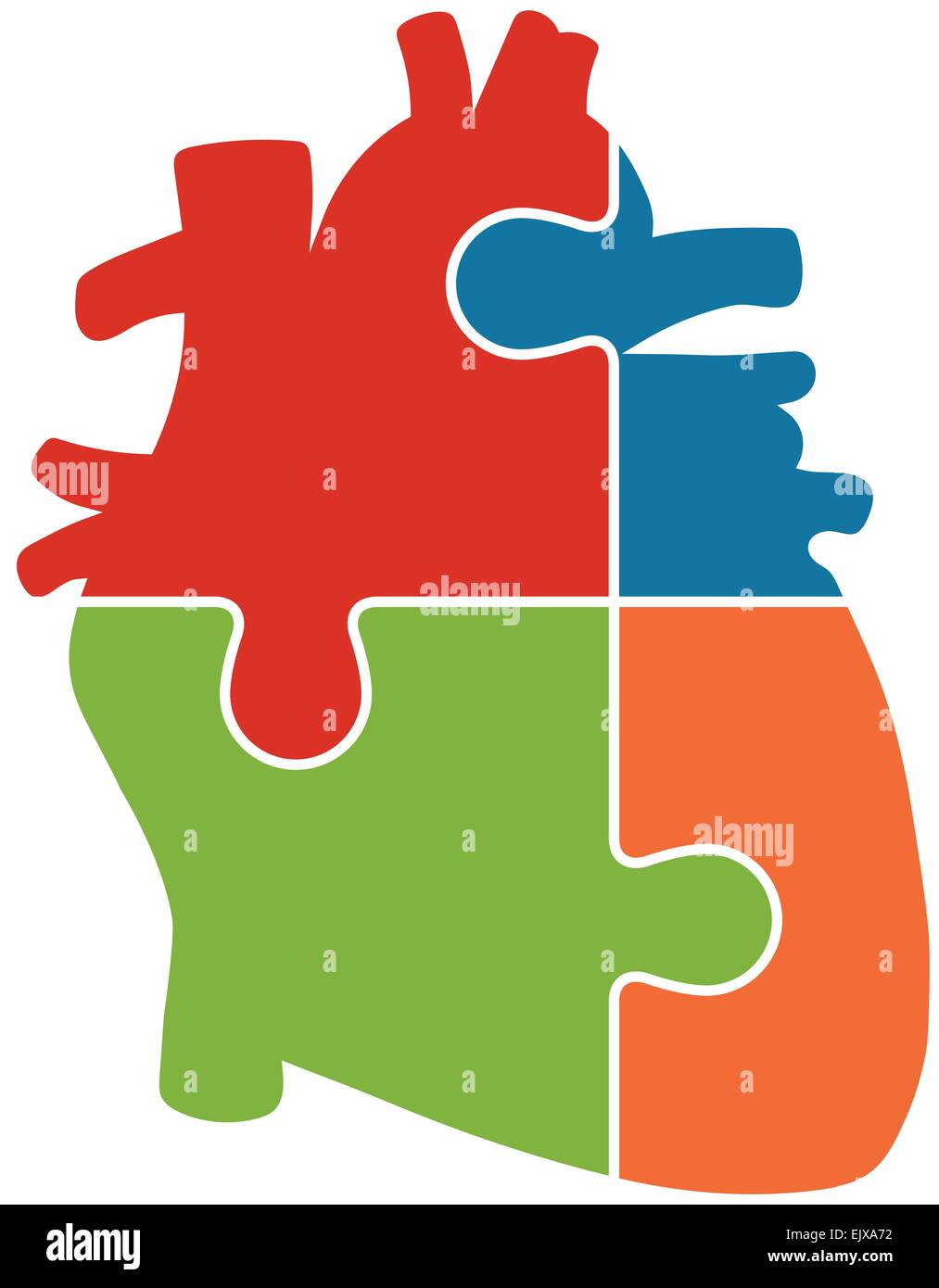 Human Heart Jigsaw Puzzle Pieces Abstract Vector Stock