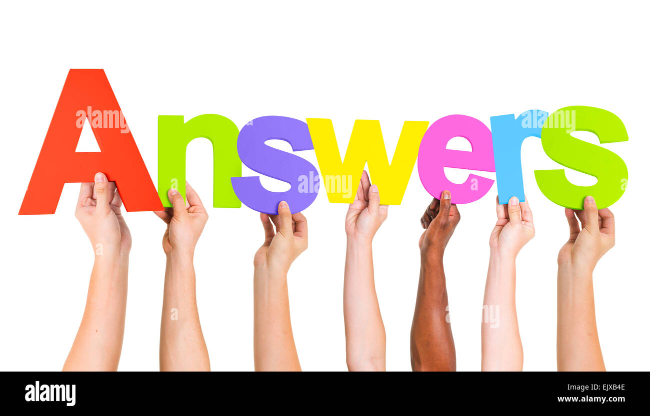 Diverse Hands Holding the Word Answers Stock Photo - Alamy