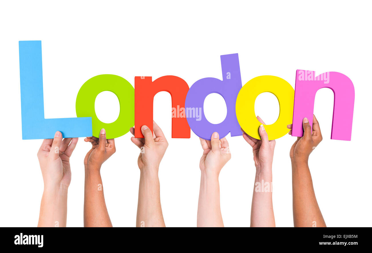 Multiethnic Arms Raised Holding Text London - Stock Image