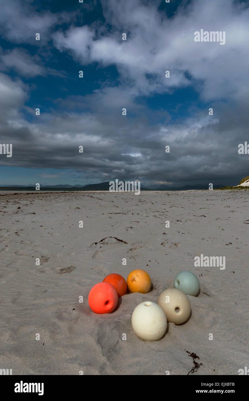 berneray isle beach hebridean boules floats - Stock Image