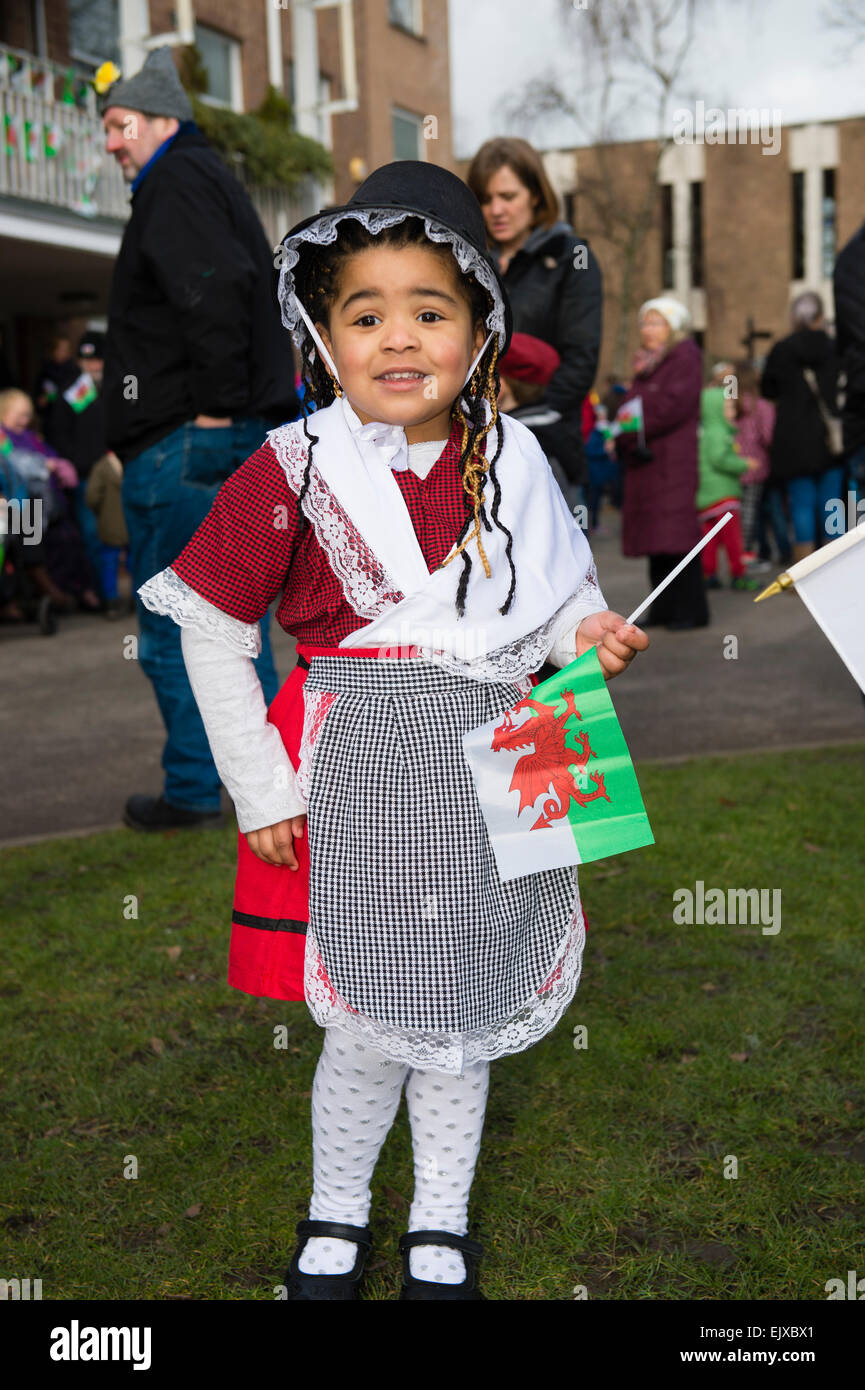 5b19cffda A young little girl child in traditional Welsh costume national dress  taking part in the St