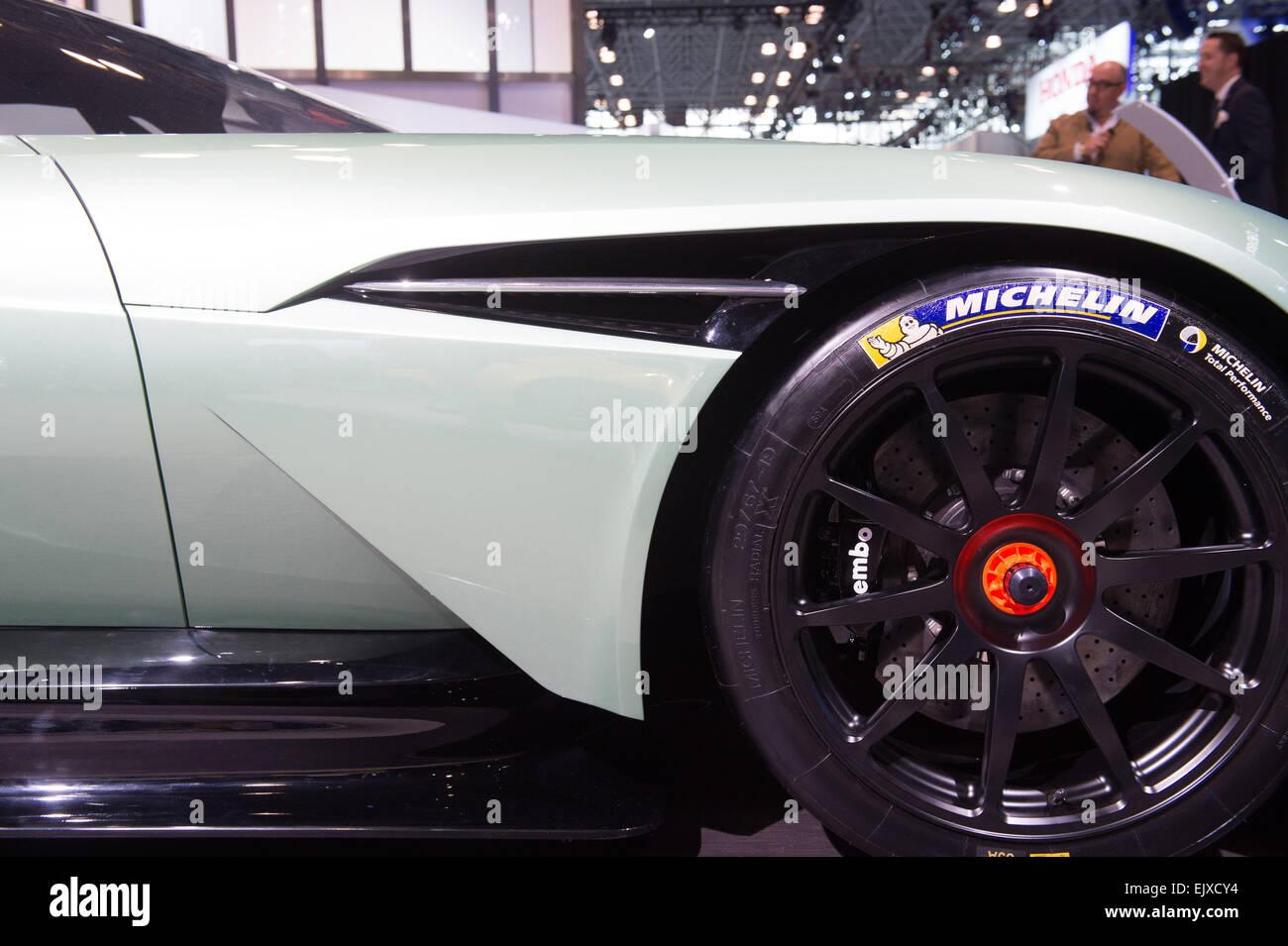 Manhattan, New York, USA. 1st Apr, 2015. Aston Martin Vulcan on display at the 2015 New York International Auto - Stock Image