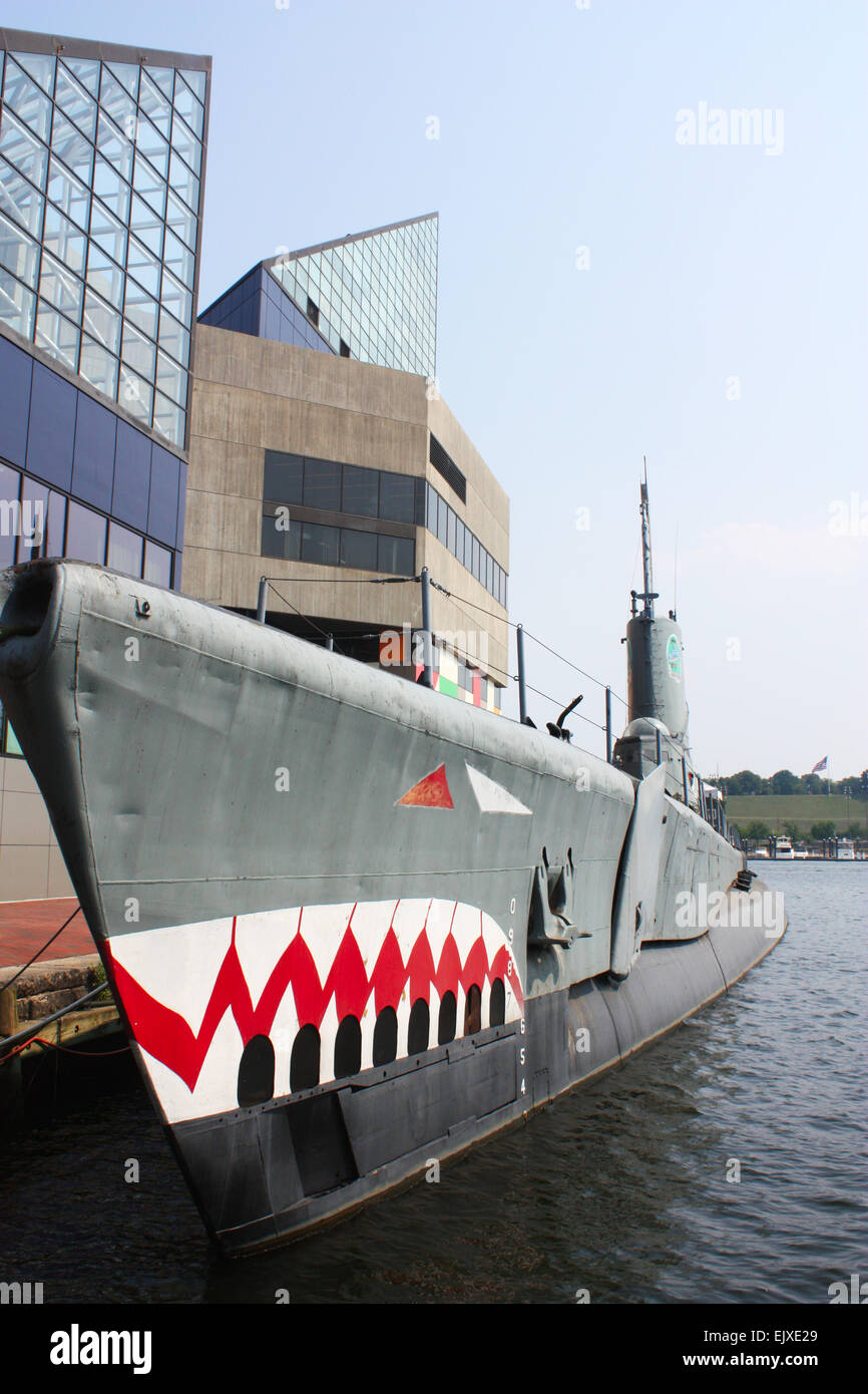 Ship outside the national aquarium in Baltimore, Maryland, USA - Stock Image