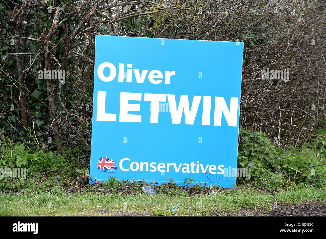 General Election 2015, Conservatives MP Oliver Letwin placards around Dorset, Britain, UK - Stock Image