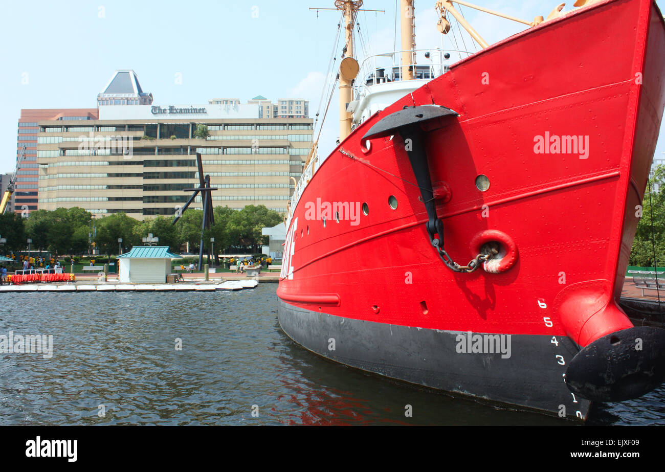Red ship outside the national aquarium in Baltimore, Maryland, USA Stock Photo