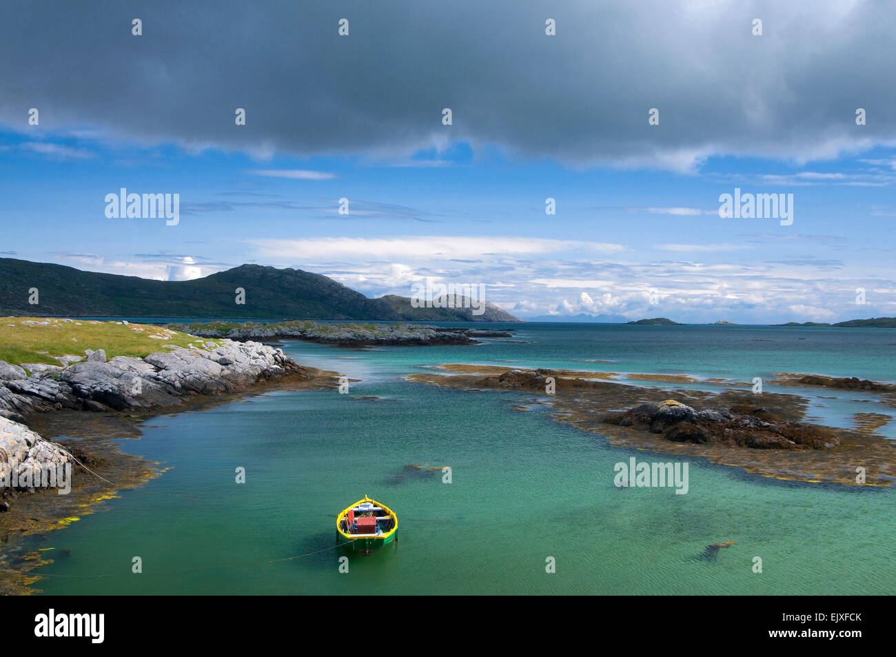 tropical colours at isle of eriskay - Stock Image