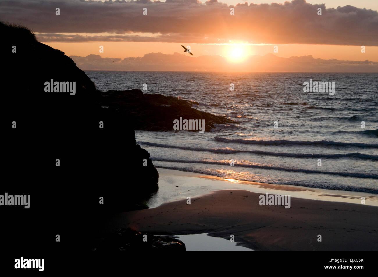 Traigh Eais beach sunset barra - Stock Image