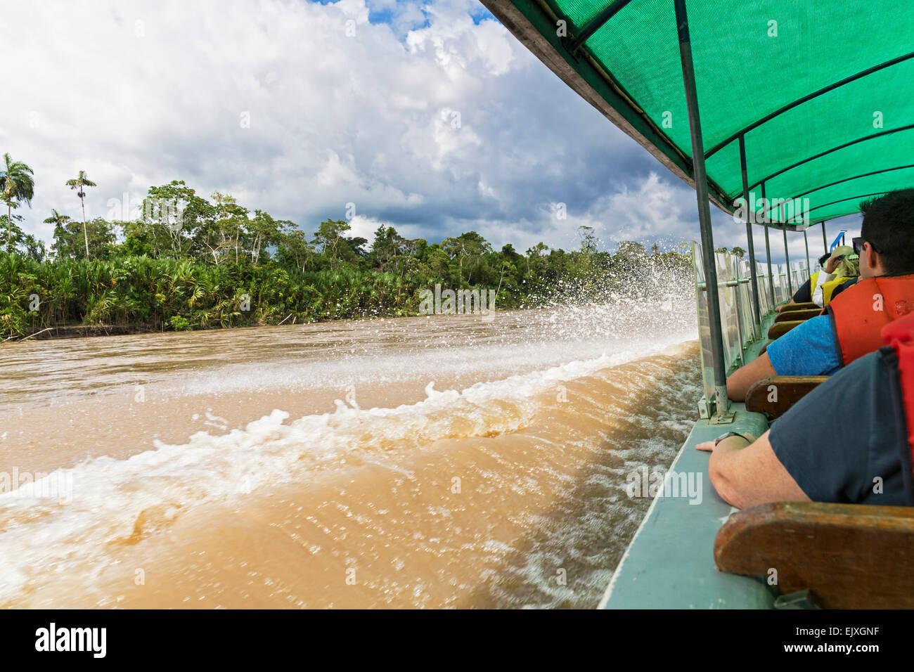 Ecuador, Amazon basin, tourist in longship on Rio Napo - Stock Image